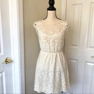 Zara Ivory lace mini dress, S